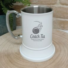 Cricket Engraved Stainless Steel White Beer Stein