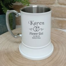 Flower Girl Engraved White Stainless Beer Stein Glass
