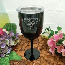 60th Birthday Black Wine Stainless Goblet (F)