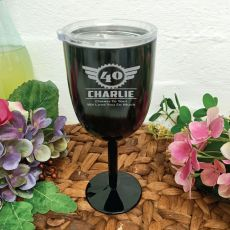 40th Birthday Black Stainless Wine Goblet (M)