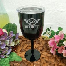 50th Birthday Black Stainless Wine Goblet (M)