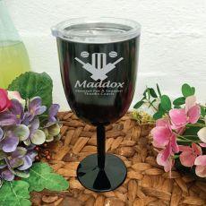 Cricket Coach Engraved Black Wine Goblet