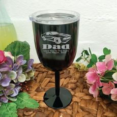 Dad Black Stainless Engraved Wine Glass