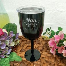 Nana Black Stainless Engraved Wine Glass