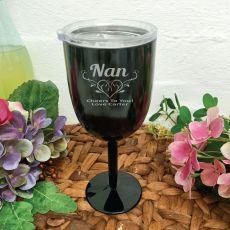 Grandma Black Stainless Engraved Wine Glass