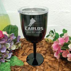 Hockey Coach Engraved Black Wine Goblet
