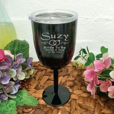 Bride Wine Glass Black Stainless Goblet