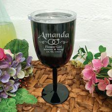 Flower Girl Wine Glass Black Stainless Goblet