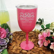 50th Birthday Pink Wine Stainless Goblet (F)