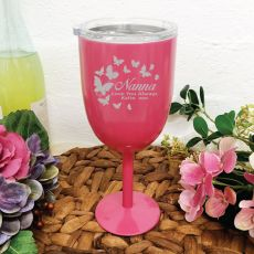 Nana Pink Stainless Engraved Wine Glass