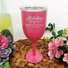 Mother of the Groom Pink Wine Stainless Goblet