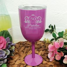 50th Birthday Purple Wine Stainless Goblet (F)