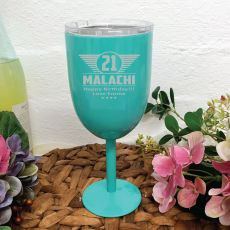 21st Birthday Teal Stainless Wine Goblet (M)