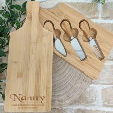 Personalised Bamboo Cheese Board w/3 Knives - Nan