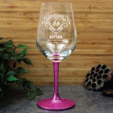 Engraved Personalised Birthday Wine Glass 450ml Glittered (F)