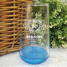 50th Birthday Engraved Personalised Glass Tumbler (F)