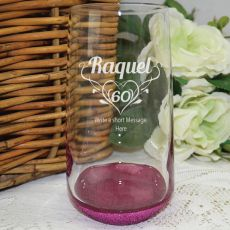 60th Birthday Engraved Personalised Glass Tumbler (F)