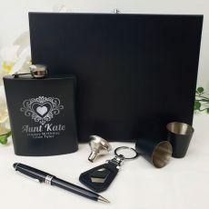 Aunt Engraved Black Flask  Set in Gift Box