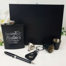 Graduation Engraved Black Flask  Set in  Gift Box