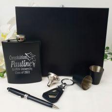 Graduation Engraved Black Flask  Set in  Gift Box