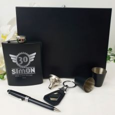 30th Birthday Engraved Black Flask Set in Wood Box