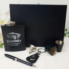 Dad Engraved Black Flask Set in  Gift Box
