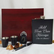 Custom Engraved Black Flask Set in Gift Box - Your Design