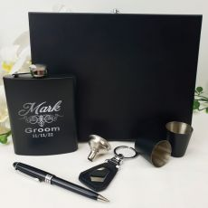 Groom Engraved Black Flask Set in Gift Box
