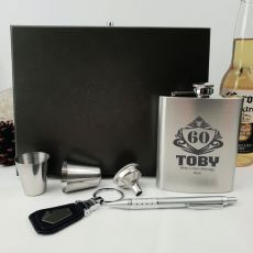 60th Birthday Engraved Silver Flask Set in Wood Box