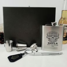Engraved Personalised Silver Flask set in Gift Box