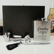 Grandma Engraved Silver Flask Set in Wood Box