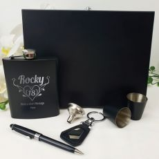18th Birthday Engraved Black Flask Set in Wood Box (F)