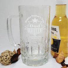 Fathers Day Engraved Personalised Glass Beer Stein