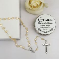 Pearl Heart Rosary Beads Personalised Tin