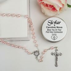 Holy Communion Pink Pearl Rosary Beads Personalised Tin