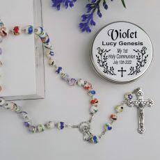 Holy Communion White Ceramic Rosary Beads Personalised Tin
