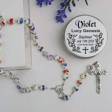 Baptism White Ceramic Rosary Beads Personalised Tin