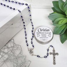 Baptism Blue Diamante Rosary Beads Personalised Tin