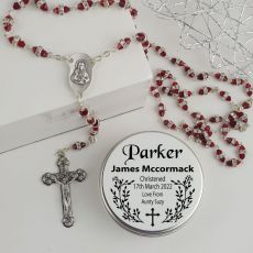 Christening Red Diamante Rosary Beads Personalised Tin