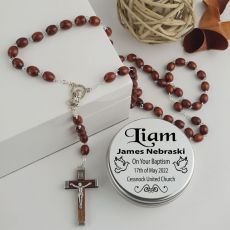 Baptism Wooden Rosary Beads Personalised Tin