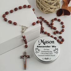 Christening Wooden Bead Rosary Beads Personalised Tin