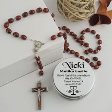 Wooden Rosary Beads Bridal Charm Personalised Tin