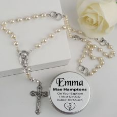 Baptism Pearl Rosary Beads Personalised Tin
