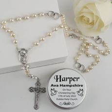 Christening Pearl Rosary Beads Personalised Tin