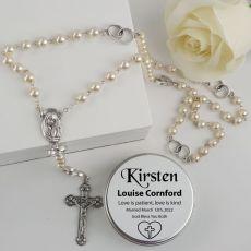 Pearl Rosary Beads Bridal Charm Personalised Tin
