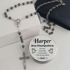 Holy Communion Rosary Beads Hematite Personalised Tin