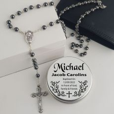 Baptism Rosary Beads Hematite Personalised Tin