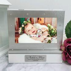 Naming Day Photo Keepsake Diamente Trinket Box