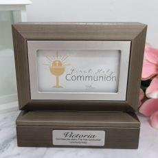 Communion Photo Keepsake Trinket Box - Charcoal Grey