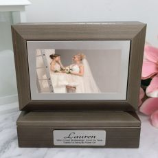 Flower Girl Photo Keepsake Trinket Box - Charcoal Grey